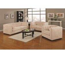 Connor Almond Finish 2pc. Chesterfield Microvelvet Sofa + Loveseat