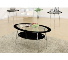 Xio 3 Piece Tempered Glass Top Coffee Table/End Tables Set