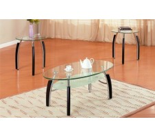 Spectra Oval Glass and Silver/Wood Combination Coffee/End Table Set