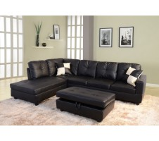 Centinel 2pc. Sectional and Storage Ottoman - Black