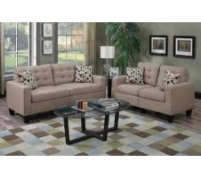 Windsor 2pc. Sofa and Loveseat with accent pillows in sand
