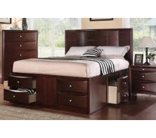 F9233 Harvey Espresso Finish Queen Bed w/ 6 Drawers