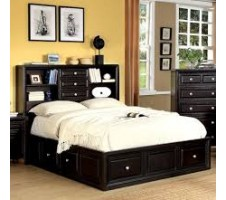 YORKVILLE QUEEN PLATFORM BED with DRAWERS & STORAGE HEADBOARD