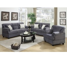 Carrie 3pc Sofa, Loveseat, Chair -grey