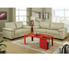 Kaylan Leather Sofa and Loveseat in khaki