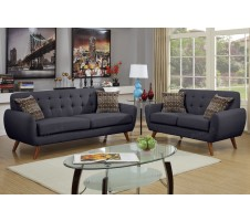 Vouge Sofa and Loveseat in ash black