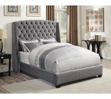 Pissaro Queen Grey Velvet Bed Frame