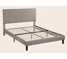Valentino Tufted Linen Platform Bed - Grey