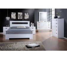 VISTA QUEEN PLATFORM BED glossy white