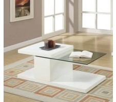 Jazz White Swivel Half Glass Top Coffee Table