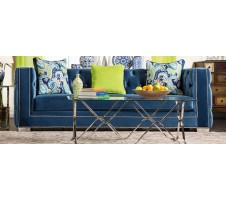 ALLURE LAPIS BLUE PREMIUM VELVET FABRIC SOFA COUCH