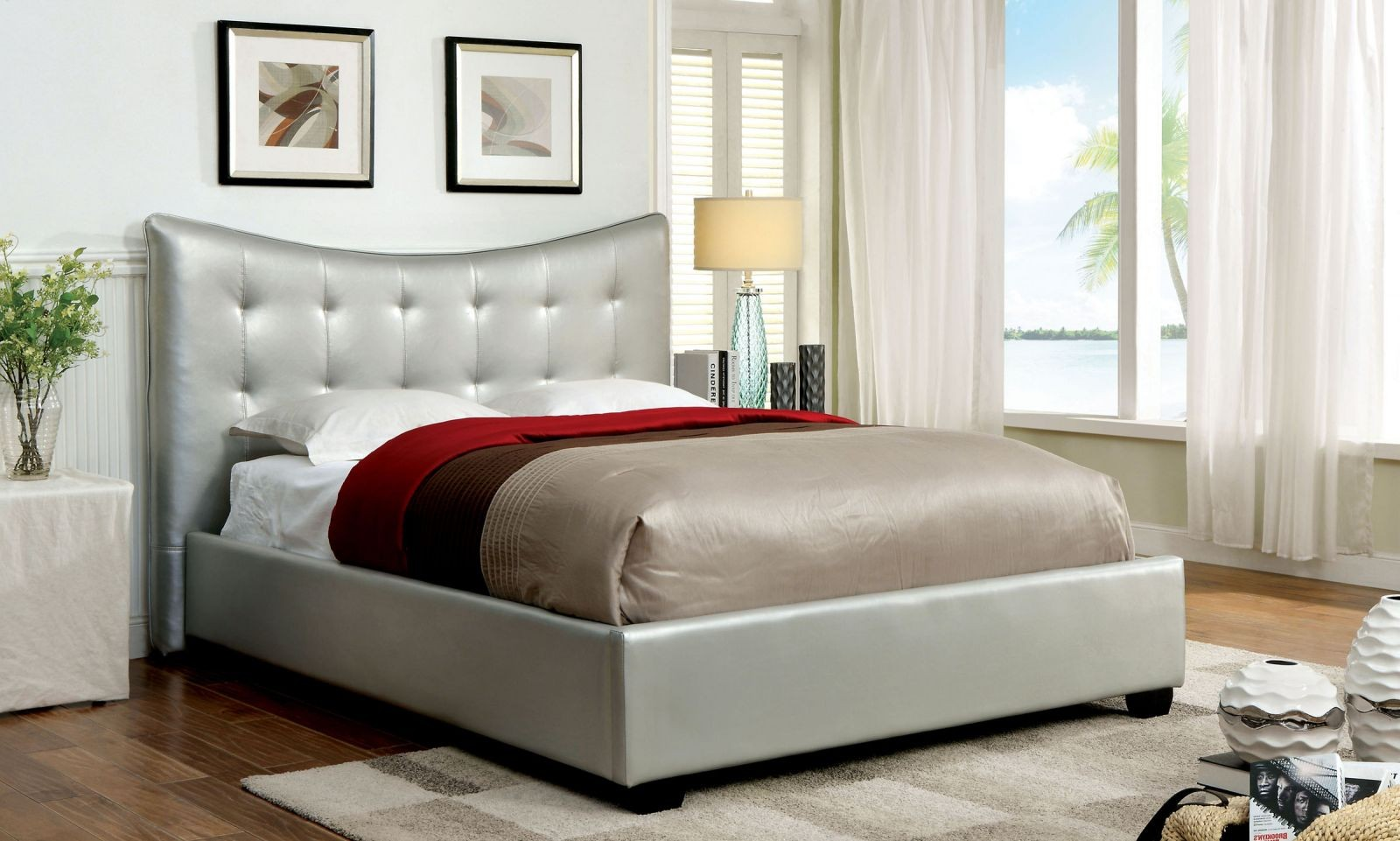 silver bed frame queen lovato platform bed frame in silver bedroom 5212