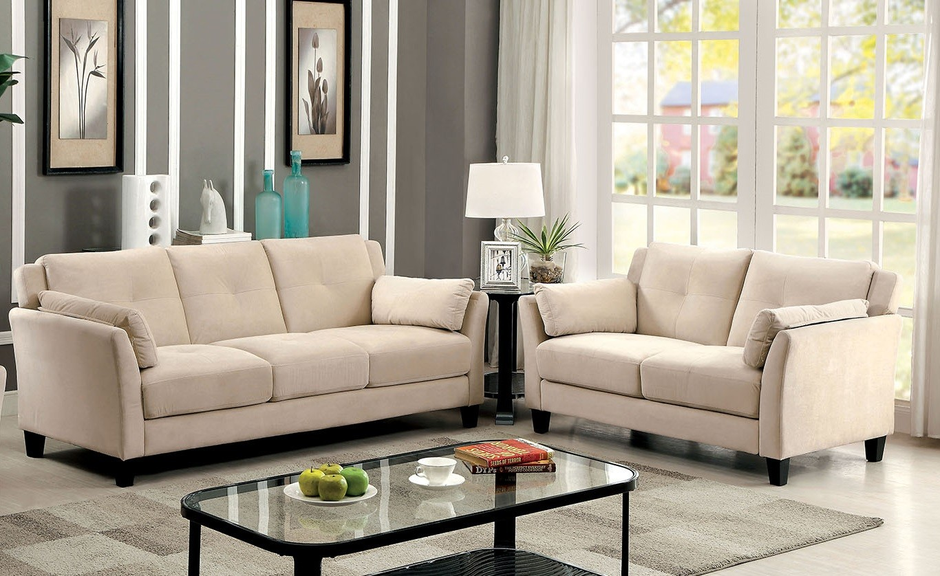 ysabel 2 pc sofa and loveseat in beige  sofa sets