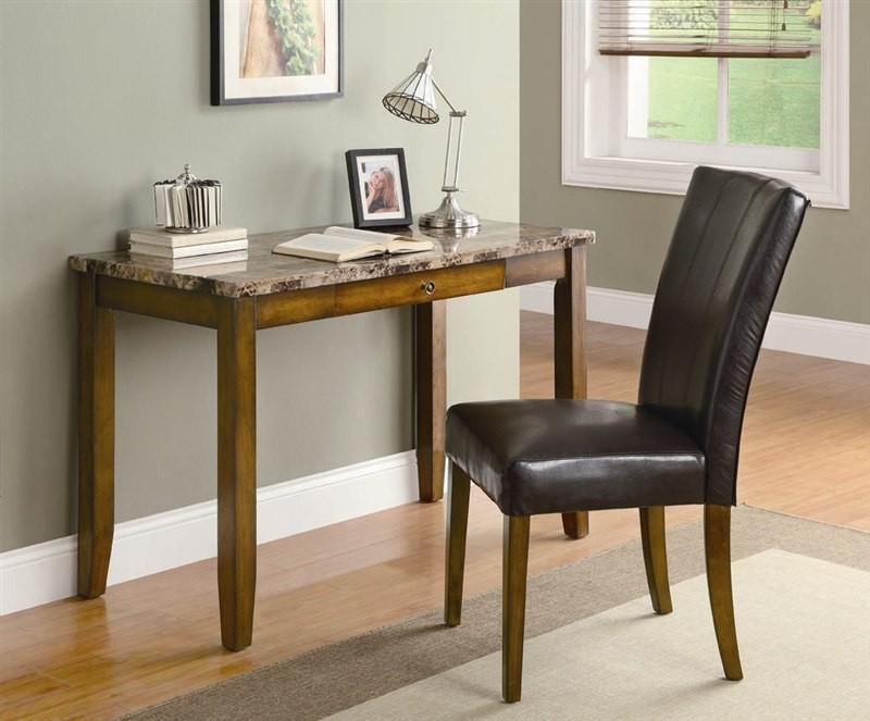Walnut Finish Desk W Faux Marble Top Chair Computer