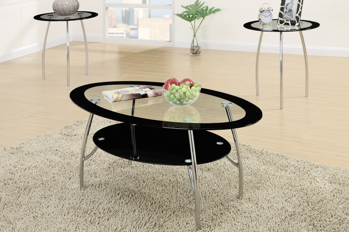 Xio 3 Piece Tempered Glass Top Coffee Table End Tables Set