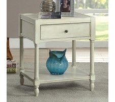 Ciara Rustic Antique White Side Table
