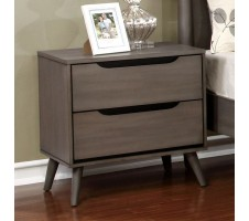 Lennard Mid Century Nightstand in Grey