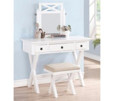 Aberly Vanity Set with Stool in white