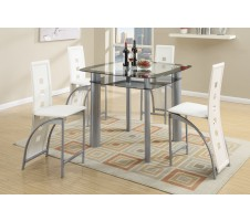 Landon 5pc. Counter Height Dining set  with White Chairs