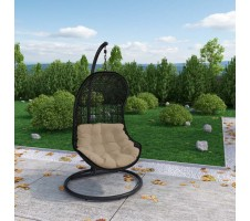 PARLAY SWING OUTDOOR PATIO FABRIC LOUNGE CHAIR IN ESPRESSO WHITE