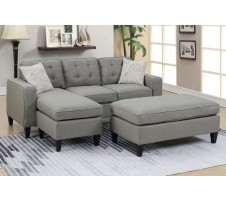 Monroe Sectional and Ottoman in Grey