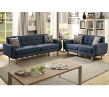 SALE! Montreal 2 Piece Sofa and Loveseat with Accent Pillows in Blue