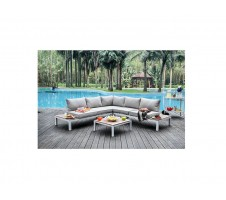 Winona Patio Sectional with Ottoman in Grey