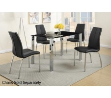 Omni Silver and Black Glass Dining Table